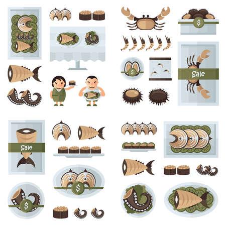 pescados y mariscos frescos de color marrón infografía