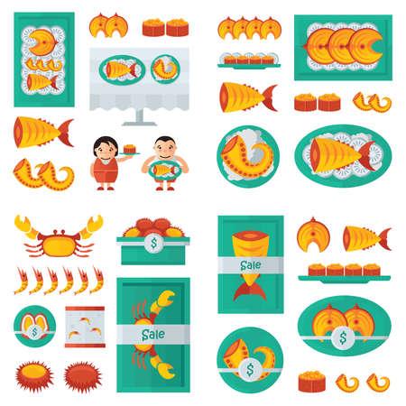 fresh seafood: fresh Seafood infographic orange, Green Illustration