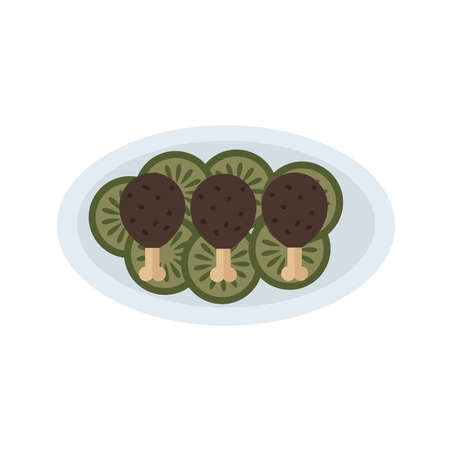 crispy: Fried chicken icon with salad brown Illustration