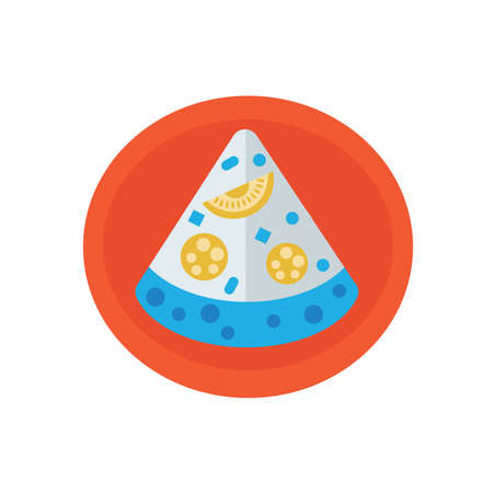 mozzarella: Slice Pizza icon on dish Illustration