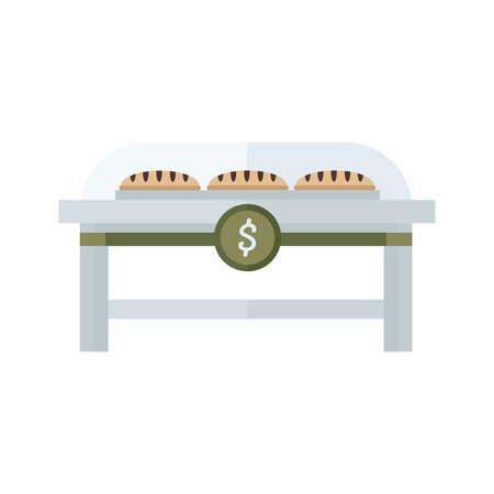 life loaf: French bread shop brown, green color Illustration