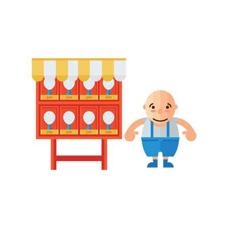 man in Fried chicken shop  icon orange Color Illustration