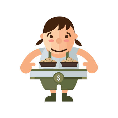 asian family: woman and box lunch icon, brown Color