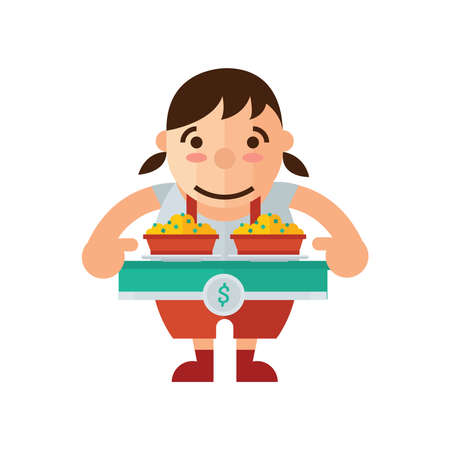 asia family: woman and box lunch icon, yellow Color