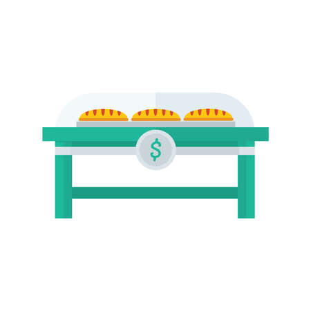 life loaf: French bread shop   yellow, green color Illustration