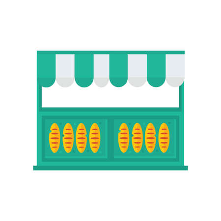 life loaf: french bread shop icon green, orange color