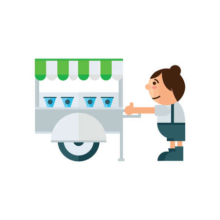asia family: cart food shop icon  green, blue color