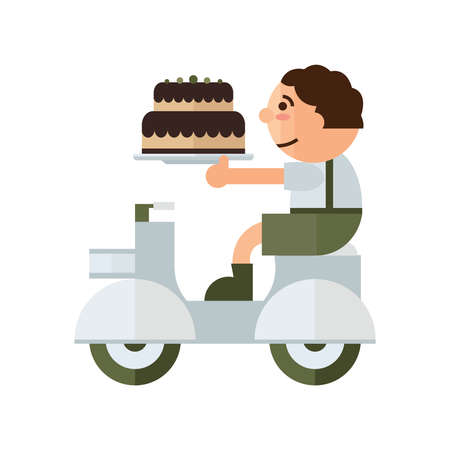 green brown: man Delivery cake birthday cartoon green, brown color