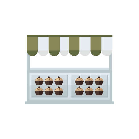 green brown: cup cake shop cartoon green, brown color Illustration