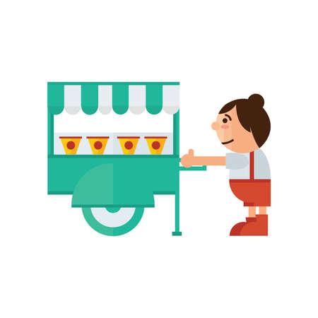 asian family: cart food shop icon  green, orange color Illustration