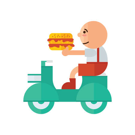 bun: Man Delivery hamburger green, orange color Illustration