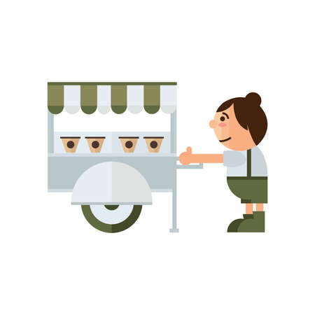 asian family: cart food shop icon  green, brown color