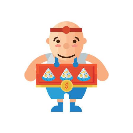 mozzarella: man selling Pizza cartoon Illustration