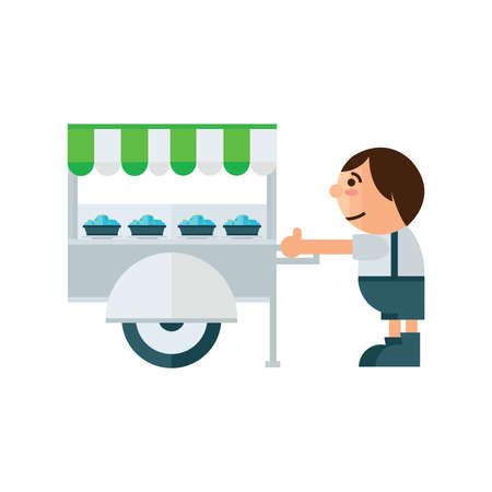 asian family: food cart icon cartoon   green, blue color Illustration