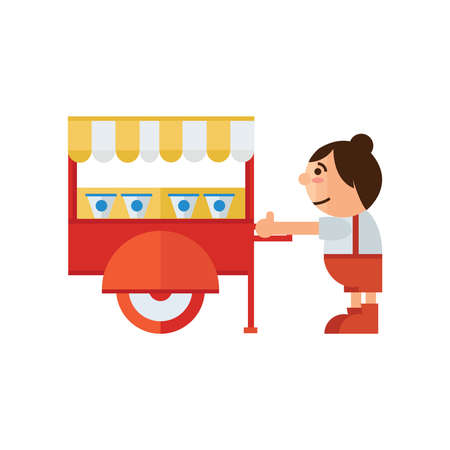 asia family: cart food shop icon Illustration