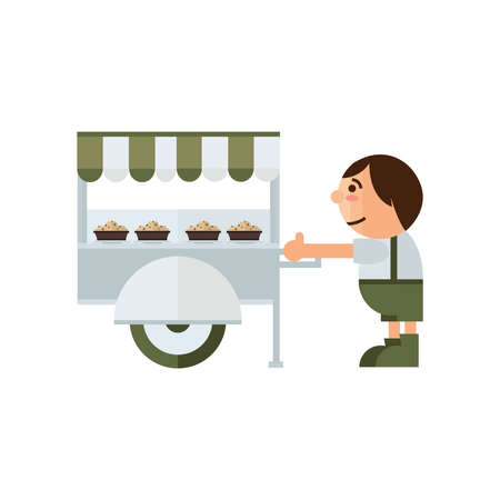asian family: food cart icon cartoon  green, brown color