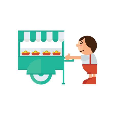 asian family: food cart icon cartoon  green, orange color