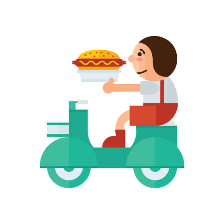 Man Delivery sandwich icon  green, orange color Illustration