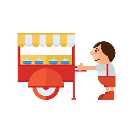 asia family: food cart icon cartoon
