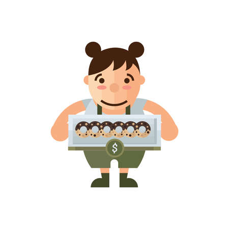 green brown: woman selling donuts cartoon green, brown color