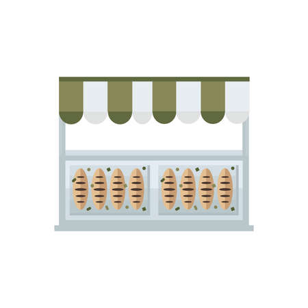 green brown: french bread shop icon green, brown color