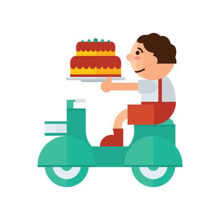 orange cake: man Delivery cake birthday cartoon green, orange color Illustration