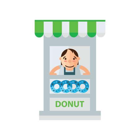 tasteful: woman donut fast foods in shop green, blue color Illustration