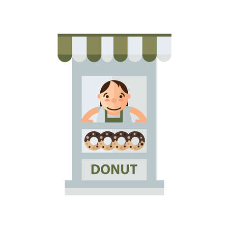 donut shop: woman donut fast foods in shop green, brown color Illustration