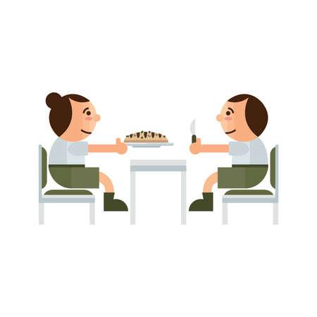 comer pastel en el restaurante verde, color marrón