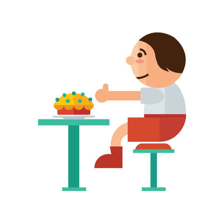 waist up: a man eat cake in restaurant cartoon  green, orange color Illustration