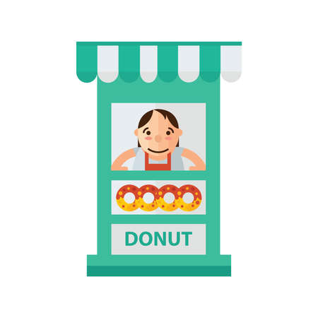 sweetened: woman donut fast foods in shop green, orange color