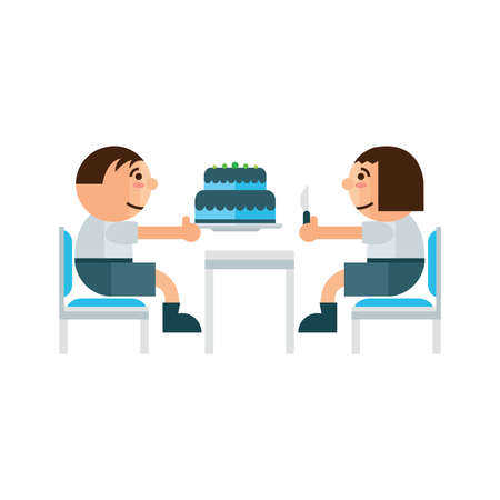 indoor court: eating cake in restaurant  green, blue color Illustration