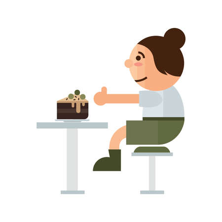 indoor court: a woman eat cake in restaurant cartoon green, brown color
