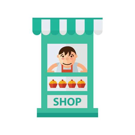 fattening: man cake fast foods in shop green, orange color Illustration