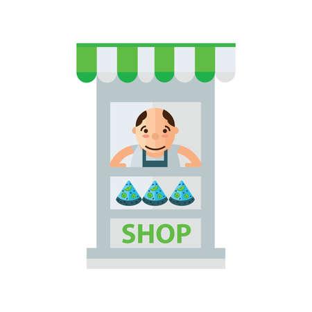 dark olive: man pizza fast foods in shop green, blue color Illustration