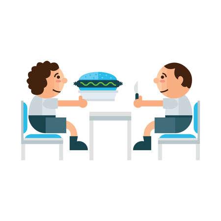 sandwich restaurant: eating sandwich restaurant  cartoon  green, blue color