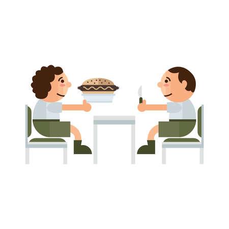 sandwich restaurant: eating sandwich restaurant  cartoon green, brown color Illustration