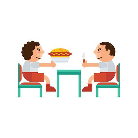 sandwich restaurant: eating sandwich restaurant  cartoon green, orange color