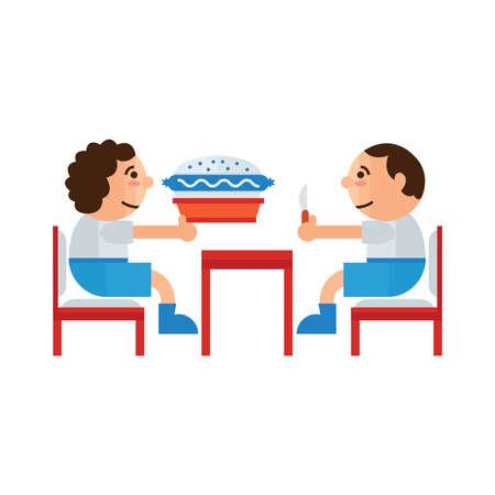 sandwich restaurant: eating sandwich restaurant  cartoon Illustration