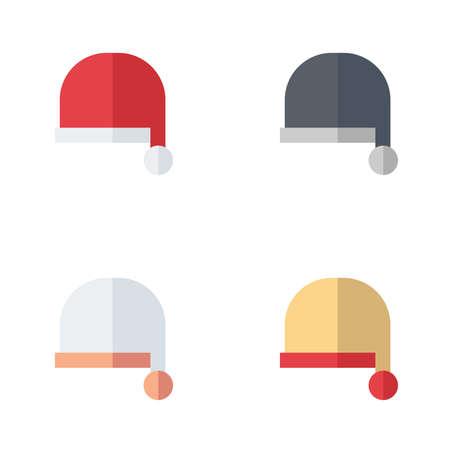 fur cap: Hat Santa Claus icon flat style