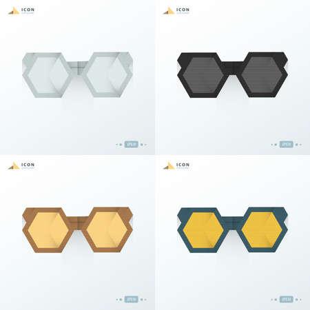eyewear fashion: sunglasses icon flat set 4 styles