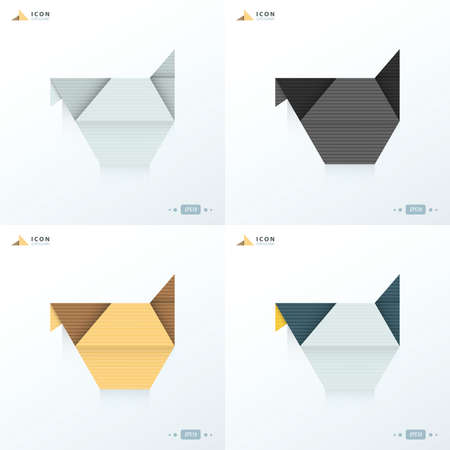 chicken icon origami set