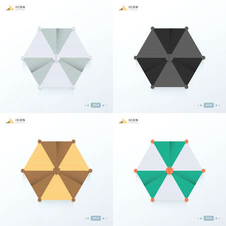 beach umbrella  icon origami set