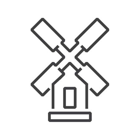 wind turbine Farm icon line style Illustration