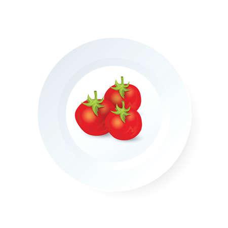 Three tomato icon vector on dish