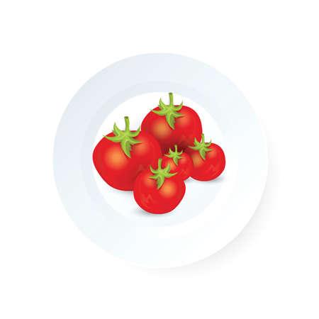 Vektorikonenvektor mit vier Tomaten auf Teller Standard-Bild - 75706507