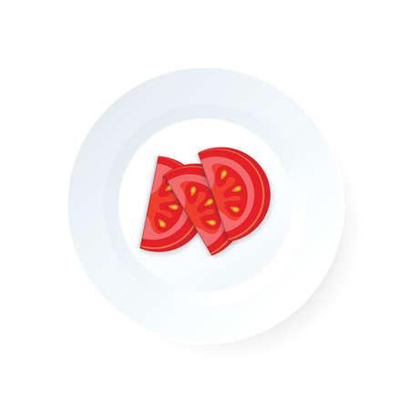 Sliced tomato icon vector on dish Ilustrace