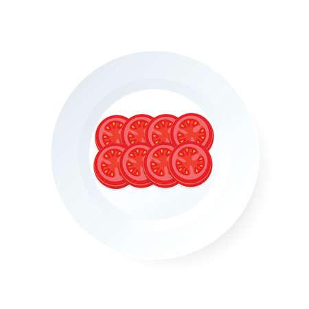 Tomaten geschnittene Ikone Vektor auf Schale Standard-Bild - 75706508