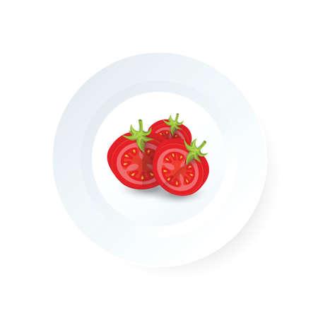 Creative dissect tomato icon vector on dish Ilustrace