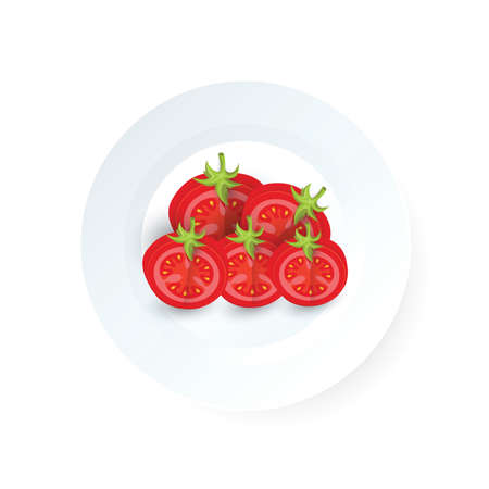 Creative dissect tomato icon vector  on a plate